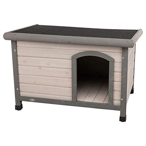 Trixie 39561 natura Hundehütte Classic mit Flachdach, S–M: 85 × 58 × 60 cm, grau