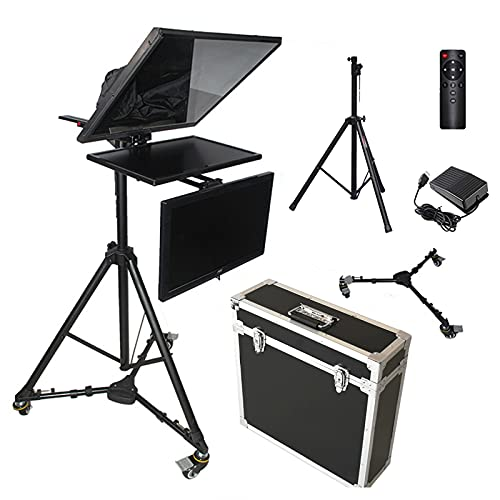 OJKYK 20' Teleprompter Kit con Vidrio Divisor de Haz HD para Cámara de Vídeo Grabación Entrevista Presentación Compatible con Entrada de señal de Video VGA HDMI AV
