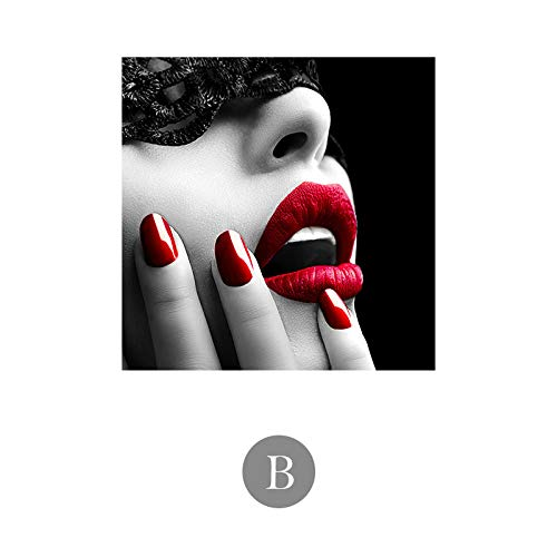 zxddzl Labios Rojos Maquillaje de Labios Especial Lienzo Pintura HD 3 60 * 60