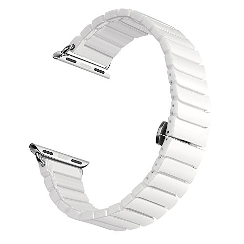 Kartice for Apple Watch Band,Ceramic Bracelet Watch Band Strap Replacement Wrist Band For Apple Watch & Sport & Edition iWatch 42/38mm With Adapter Closure Retail Packaging-White,38mm