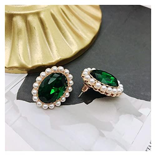 wanhaishop Joyas/Collares Collar de Encanto Colgante Verde Elegante, Collar romántico de Doble Capa Gargantilla de Perla Colgantes de Mujer (Metal Color : Stud 2)
