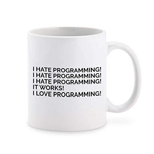 N\A I Love Programming - Taza de café Friki Taza de té Tazas de Regalo novedosas 11 oz