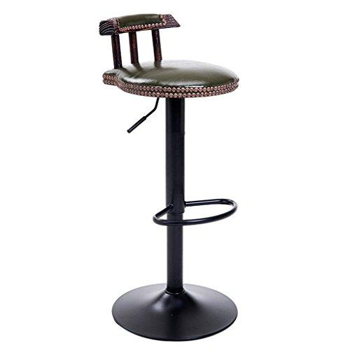 Ali@ Chaises de bar en acier de style américain Chaises de bar rétro Chaise en bois massif de levage Tabouret haut Tabouret de bar Style européen Chaise pivotante (Couleur : Armée verte)