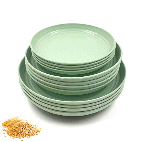 """BangBoom 12 Pack New Wheat Straw Plates Set, Unbreakable Lightweight Dinner Dishes, Microwave Safe Dinner Plate, Perfect for Salad, Pasta, Steak,Fruit(6.8"""",7.8"""" , 8.8"""") (Green)"""