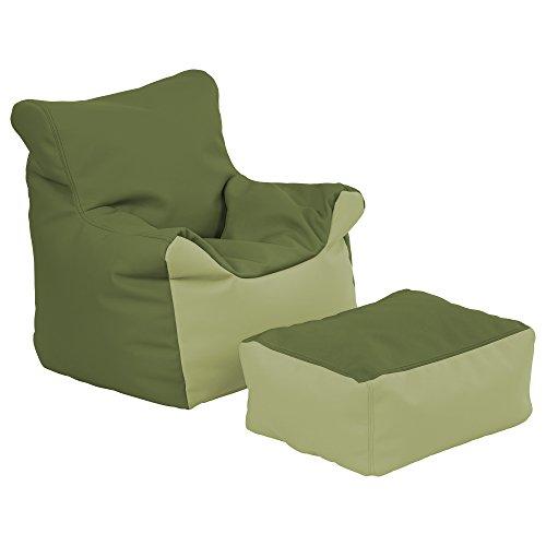 ECR4Kids zitzak en kruk voor kinderen, 2-delige set, Hunter Green und Farngrün, 2