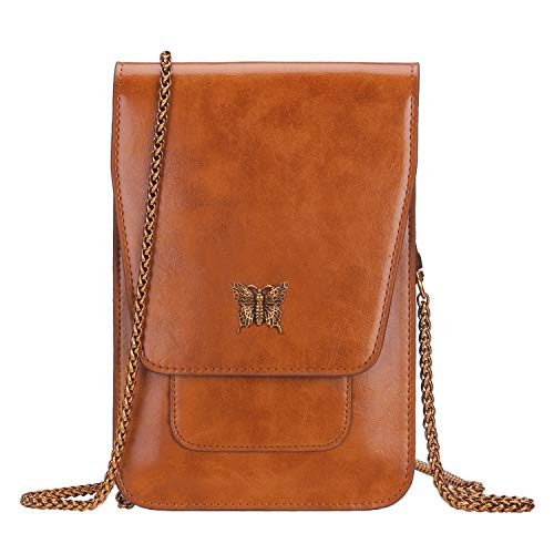 Zoppen Crossbody Bags for Women Small Travel Purse Shoulder Bag Crossbody Purse Cell Phone Wallet with Chain Strap, Caramel Brown