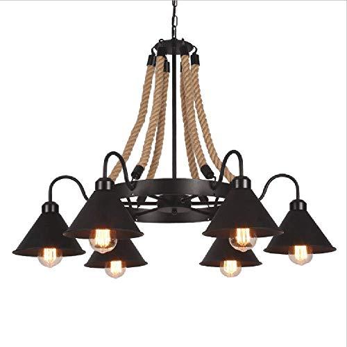 WYBW Lámpara doméstica, iluminación novedosa, lámpara de araña, retro, industrial, cuerda de cáñamo, 6 lámparas colgantes, estilo industrial americano de hierro forjado, adecuado para salón