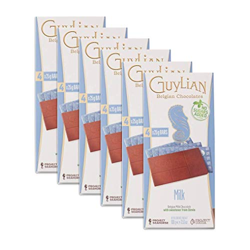 Guylian Milk Chocolate No-Sugar Added Bar, 3.5-Ounce Boxes (Pack of 24)