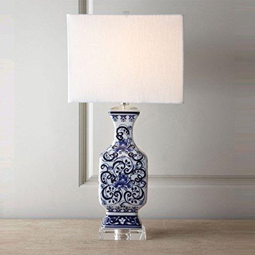 Hgwww Nueva lámpara de mesa de cerámica azul pintada a mano de porcelana azul y blanca - American Simple Art Sala de estar lámpara de mesa de la habitación modelo - Lámpara decorativa de lujo antigua