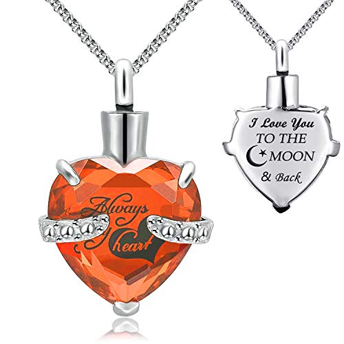 YOUFENG Jewellery Urn Necklace for Ashes Always in My Heart I Love You to...
