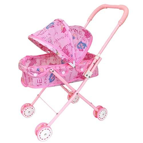 Odoukey Cochecito Plegable con Capucha Adorable del Cochecito De Niño De Peso Ligero De Rosa De Bebé De Juguete Cochecito para Bebé, Niños Pequeños