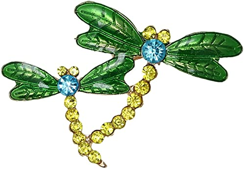 NZDY Broche de Moda Pin Rhinestone Dragonfly Broches Esmaltado Verde Animal Pin Joyería Broche Broche Broche Pin