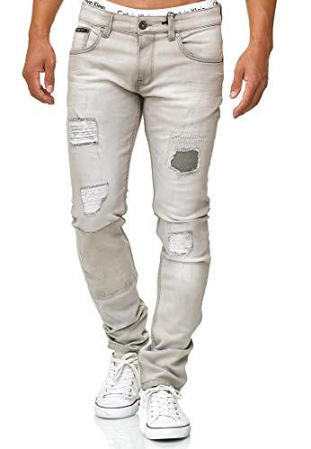 Indicode Herren Ohio Jeanshose aus Baumwolle m. Stretch-Anteil | Herrenjeans Destroyed Look Denim Stretch Jeans Hose Herrenhose Regular fit Washed Out Men Pants f. Männer Lt Grey 29/34