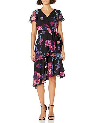Tahari ASL Women's Tiered Dress with Flutter Sleeves Cocktail, Pink Purple Floral, 16 Petite