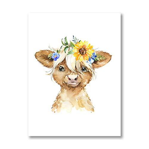 YWOHP Acuarela Dibujos Animados Granja Animal Pintura Cachorro Oveja Cerdo Vaca Lienzo impresión vivero Cartel nórdico Pared Arte Imagen decoración de la habitación del bebé-40x50_cm_No_Frame_PB2731