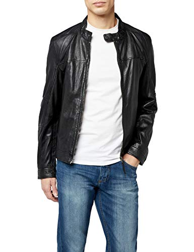 Kings on Earth Chaqueta de Cuero Estilo Biker Hombre, Negro (Schwarz 1), X-Large