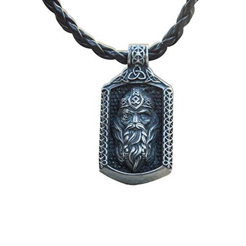 YioKpro Clásico Retro Hip Hop Collar Colgante de Acero Inoxidable Vikingo nórdico Odin Avatar Hombres Collar Accesorios
