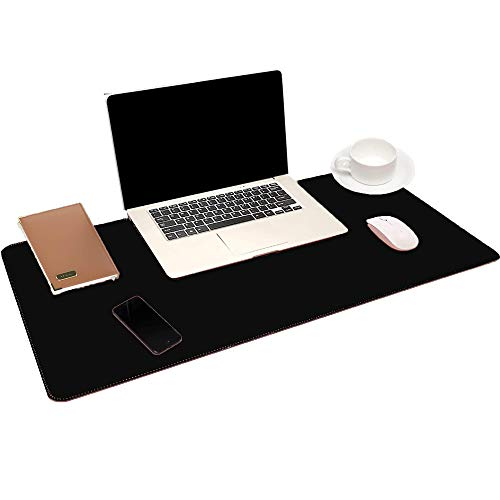 """Dual Sided Office Desk Mat, 31.5"""" x 15.7"""" PU Leather Desk Pad, COFOND Multifunctional Laptop Mouse Pad, Non-Slip Desk Blotter Protector, Waterproof Desk Writing Pad for Office and Home(Black)"""