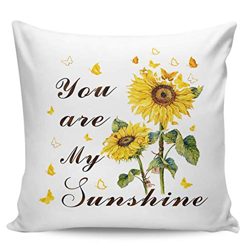 W-wishes Throw Pillow Covers Cases,You are My Sunshine Sunflower Butterfly Cushion For Home Decoration, 18 x 18 Inch