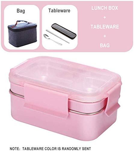 Boîte à lunch en acier inoxydable Nfudishpu 304, boîte à bento à deux couches, récipient pour aliments avec sac à vaisselle de cuisine, pour étudiant étudiant (Couleur: Costume noir) (Couleur: Costume