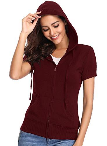 MISS MOLY Damen Kurzarm Hoodie Sweatshirt Kapuzenpullover Sweatjacke mit Tasche Reissverschluss - XL
