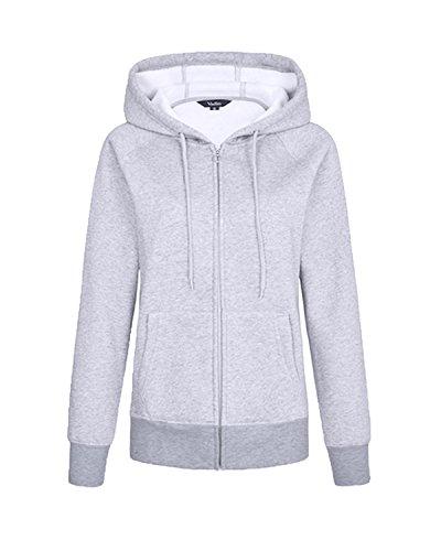 Kidsform Damen Feste Plain Hooded Tops Maxi-Longline-Sweatshirt Outwear S/UK 8 x-grau