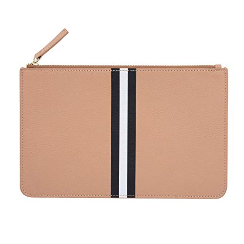 Milly Kate Leather Clutch Purse, Zip-Top Pouch, Colorful, Stylish, Carry-all, Durable, Classic, Preppy, Upscale, Milly Kate Exclusive, Gold Zipper, Tan with Black and White Stripes, 6.25 x 10 inches