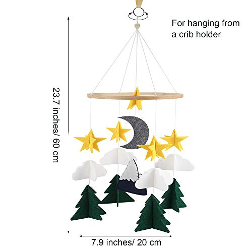 Jolik Baby Crib Mobile Felt Crib Mobile Woodland Night Nursery Decoration