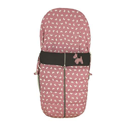 Saco Silla de Paseo Universal Rosy Fuentes- Saco Carrito Bebé - Funda de silla de paseo - Equipado para ser Ajustado perfectamente - Elaborado en Punto jersey estampado perritos - Color rosa empolvado