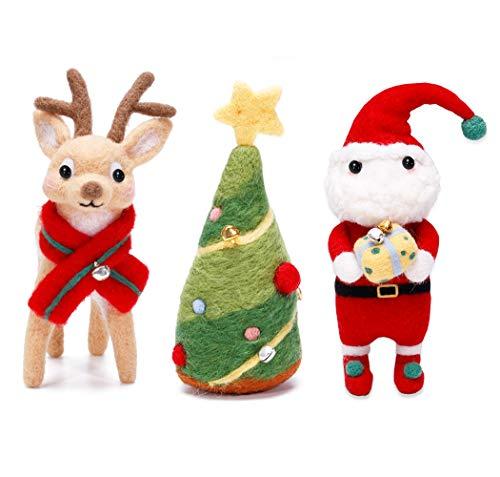 KA MAI KA Weihnachts Filzwolle Set, Filzwolle Märchenwolle Set mit Nadelfilz Werkzeug, Filzen Basic Kit für Hand Spinnen DIY Craft Projekte Weihnachten Puppe Kammzug Fein