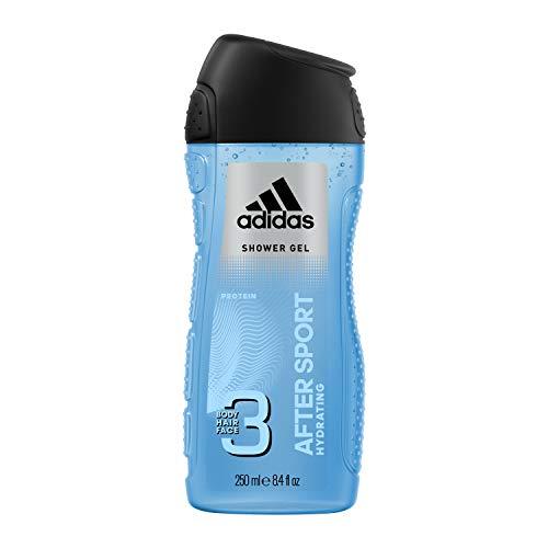 Adidas After Sport Gel Doccia Bagnoschiuma 3 in 1 per Corpo, Capelli e Viso, 250 ml