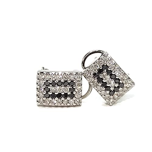 Preciosos pendientes para mujer de oro blanco de 18k con diamantes blancos y negros que pesan 1.05cts.
