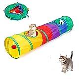 Arcobaleno - Tube para gato con bola colgante, túnel para gatos, con 2 agujeros, 25 x 120 cm, 300 g