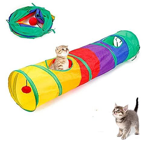 Arcobaleno Tubo Gatto con palla ciondolo Tube, Tunnel per Gatti, Tunnel pieghevole per giocare a gatti, con 2 fori, per Gattini, Conigli (25 x 120cm,300g)