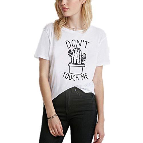Luckycat Mujeres Camisetas Cactus y Letras Impresas T Shirt Elegante Manga Corta Túnica Casual Suelto Blusas Camisas Tops