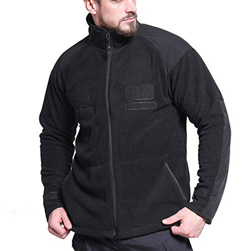 CIKRILAN Homme Outdoor Thicken Thermal Fleece Jacket Bodywarmer Full Zip Long Sleeve Casual Warm Polar Fleece Coat (L, Black)