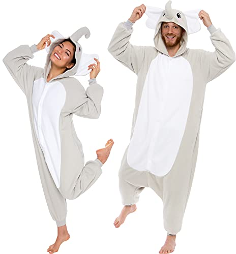 Silver Lilly Adult Elephant Animal One Piece Unisex Pajamas - Plush Cosplay...