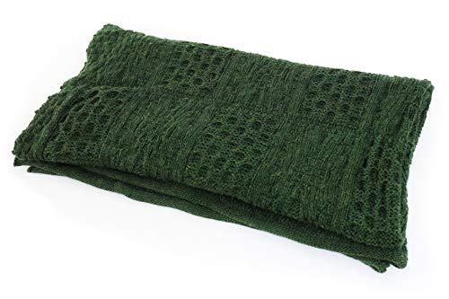 Biddy Murphy Irish Wool Blanket Aran Sweater Knit 100% Wool Throw Blanket 54 Inches x 46 Inches Irish Gift Made in Ireland (Green)