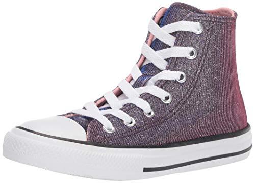 Converse Girls' Chuck Taylor Space Star Sneaker, Coastal Pink/Silver/White, 2 M US Little Kid