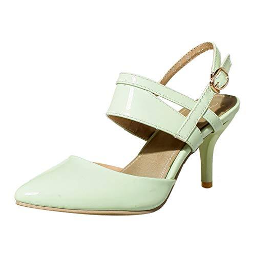 Birdsight Damen Spitze Slingback Pumps High Heels Lack Stiletto Riemchen 7cm Absatz Schuhe (Hellgrün, 41)