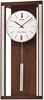 SEIKO Modern & Sophisticated Wall Clock with Pendulum and Dual Chimes, Brown