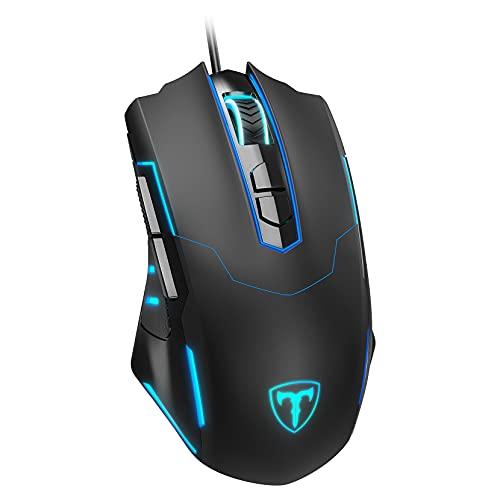 PONVIT Mouse da Gioco Gaming Mouse con Filo, 7200 DPI , Programmabile e Ergonomico , 5 dpi Regolabili, 7 Pulsanti, 16 milioni tipi di Colore a Scelta per PC Computer Portatile Gamer Ufficio