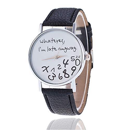 LD Whatever, I' m Late Anyway forma moda orologio da donna in pelle PU orologio da polso al quarzo orologio