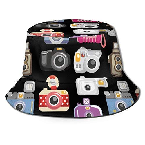 AJOR Sombrero de sol con patrón de cámara para hombres y mujeres, protección UV, camping, verano, flexible, duradero para adolescentes