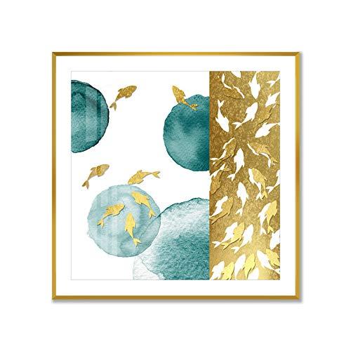 baodanla Geen frame Gouden inktvis inkt landschap vogel olie schilderij