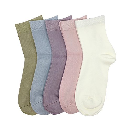 Women Casual Socks Bamboo Lightweight sock Ankle Thin Breathable Odor Resistant Sock 5 Pairs (Assorted, Large)