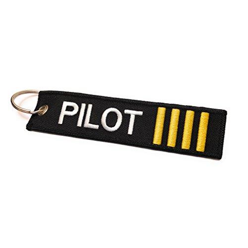 Portachiavi pilota Etichetta del bagaglio 4 strisce d'oro Alta qualità   aviamart®