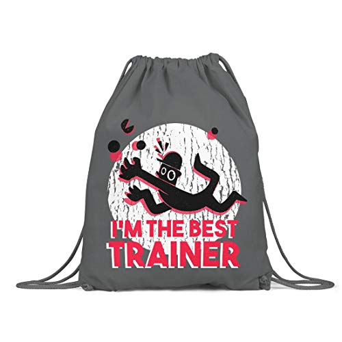 BLAK TEE Best Trainer Organic Cotton Drawstring Gym Bag Grey