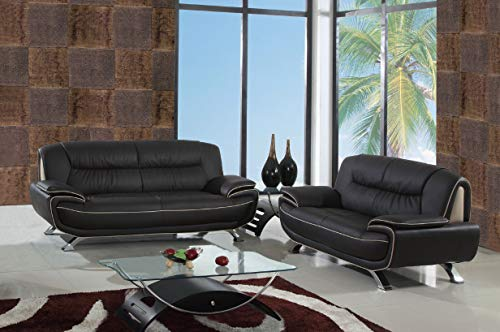 Blackjack Furniture 405 Newsome Collection Leather Match Upholstered Living Room, Loveseat, Sofa, BROWN
