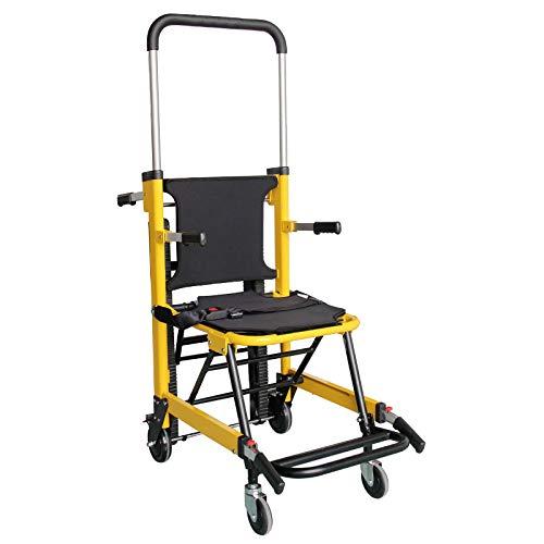 Klappbare EMS Medical Chair Treppe - Heben Klettern Rollstuhl Treppenlift Stuhl Tragfähigkeit 350 lbs Manuelle faltbare Raupe 4 Evakuierungsstuhl Krankenwagen